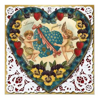 レース-ヴィンテージのビクトリア時代の人2とのバレンタインのハート カード