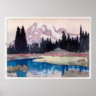 レーニア山、レーニア山、ひろし吉田の木版画 ポスター