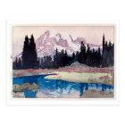 レーニア山、レーニア山、ひろし吉田の木版画 ポストカード