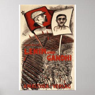 レーニンおよびGandhi ポスター