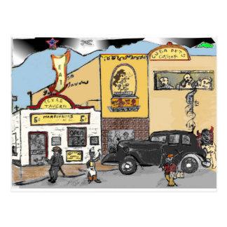 ロアノークの陸標のテキサス州の居酒屋の漫画のスケッチ ポストカード