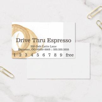 ロイヤリティのニュースのフォントのコーヒー汚れのパンチカード 名刺