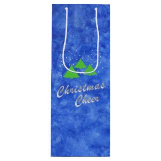 ロイヤルブルーおよびライムグリーンのクリスマスの応援 ワインギフトバッグ