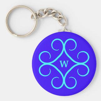 ロイヤルブルーおよび水色の空想の渦巻のモノグラム キーホルダー
