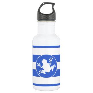 ロイヤルブルーおよび白のストライプ; カエル ウォーターボトル