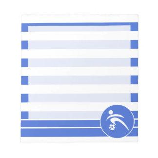 ロイヤルブルーおよび白のストライプ; サッカー ノートパッド