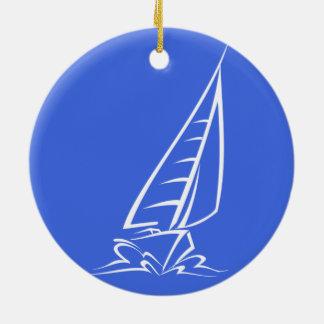 ロイヤルブルーおよび白の航行; 帆ボート セラミックオーナメント