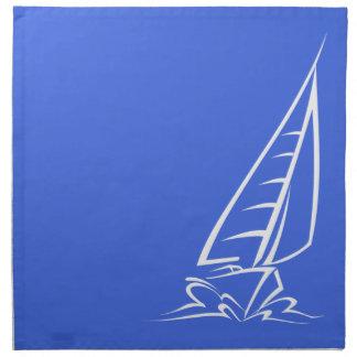 ロイヤルブルーおよび白の航行; 帆ボート ナプキンクロス