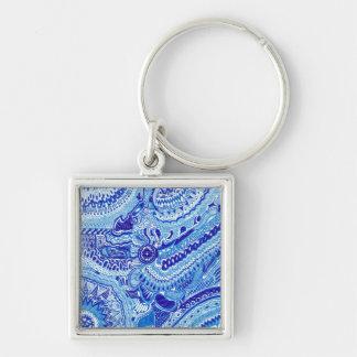 ロイヤルブルーおよび白Mingはパターン芸術のスタイルを作ります キーホルダー