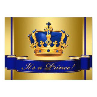 ロイヤルブルーおよび金ゴールドの皇太子ベビーシャワー 12.7 X 17.8 インビテーションカード