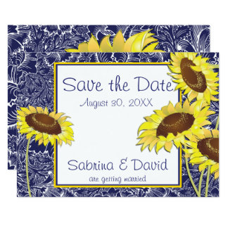 Royal Blue and Yellow Sunflowers Save the Date