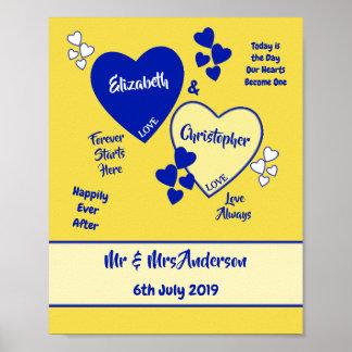ロイヤルブルーおよび黄色の結婚式の印ポスター ポスター