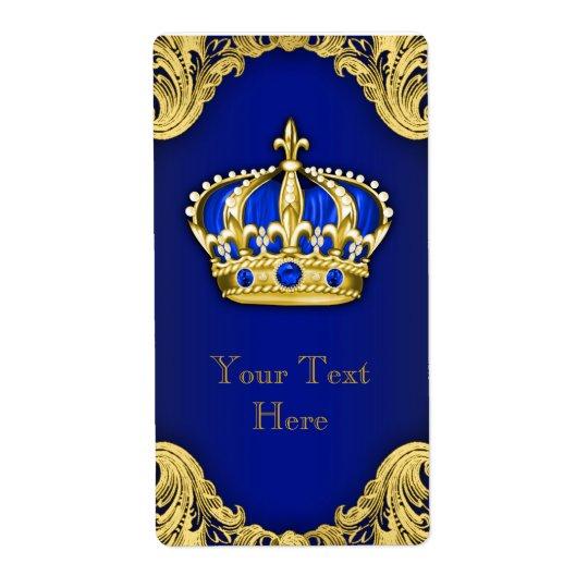 ロイヤルブルーおよびCrown金ゴールドの王子のワイン・ボトルのラベル 発送ラベル