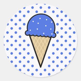 ロイヤルブルーのアイスクリームコーン ラウンドシール
