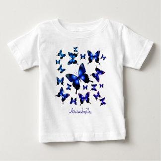 ロイヤルブルーのエレガントでお洒落な蝶 ベビーTシャツ