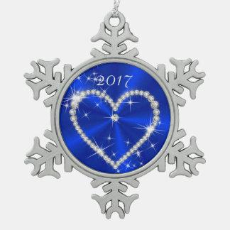 ロイヤルブルーのサテンのダイヤモンドのハート スノーフレークピューターオーナメント
