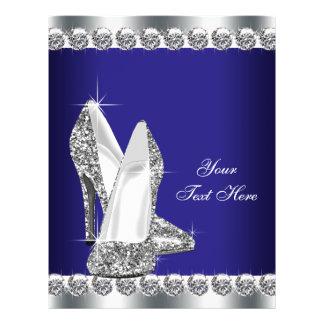 ロイヤルブルーのダイヤモンドのグリッターのハイヒールの靴 チラシ