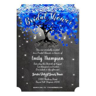 ロイヤルブルーのハートの葉の木のブライダルシャワーの招待 カード