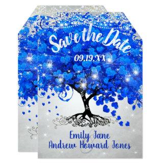 ロイヤルブルーのハートの葉の木の結婚式の保存日付 カード