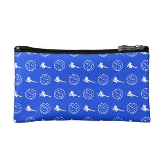 ロイヤルブルーのバレーボールパターンクラッチ コスメティックバッグ