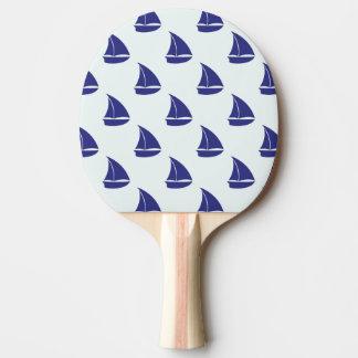 ロイヤルブルーのヨットパターン 卓球ラケット