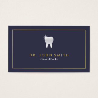 ロイヤルブルーの光沢がある歯の歯科アポイントメント 名刺