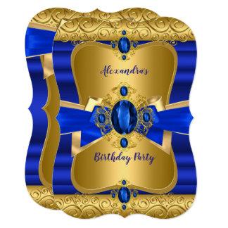 ロイヤルブルーの宝石の金ゴールドの弓誕生会 カード