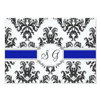 ロイヤルブルーの旧式でエレガントな結婚式招待状 カード