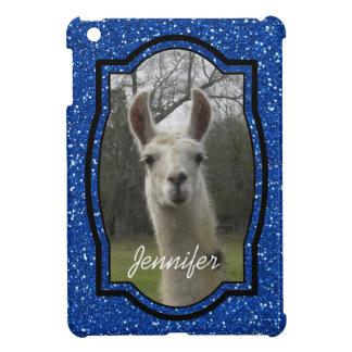 ロイヤルブルーの明るいNのきらめくなラマ iPad MINI カバー