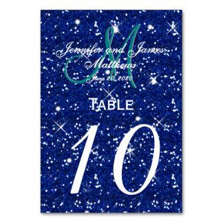 ロイヤルブルーの星明かりの夜結婚式のテーブル数カード カード