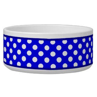 ロイヤルブルーの水玉模様パターン陶磁器犬ボール