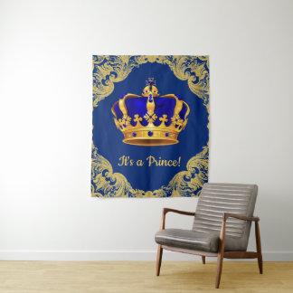 ロイヤルブルーの王子ベビーシャワーの背景幕の旗 タペストリー