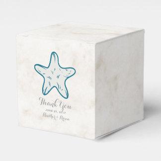 ロイヤルブルーの素朴なヒトデの結婚式 フェイバーボックス