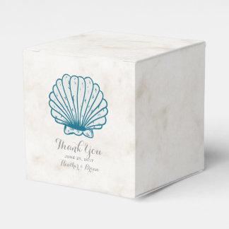 ロイヤルブルーの素朴な貝殻の結婚式 フェイバーボックス