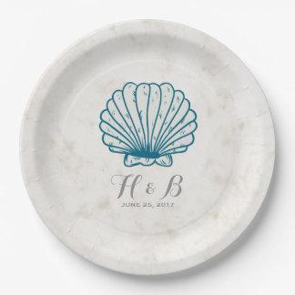 ロイヤルブルーの素朴な貝殻の結婚式 ペーパープレート