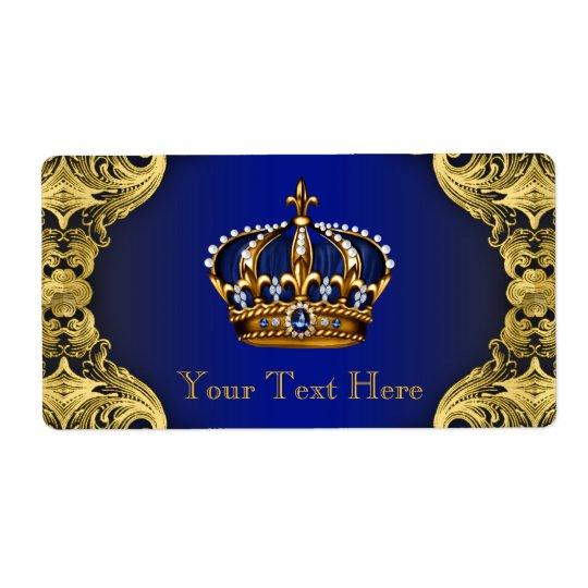 ロイヤルブルーの金ゴールドの王子ベビーシャワーの水差し 発送ラベル