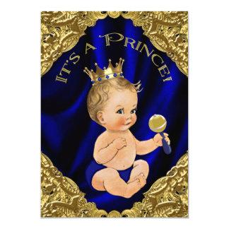 ロイヤルブルーの金ゴールドの王子ベビーシャワー 12.7 X 17.8 インビテーションカード