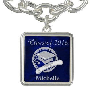 ロイヤルブルーの銀の卒業 チャームブレス