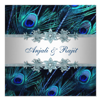 ロイヤルブルーの銀の王室のなインドの孔雀の結婚式 カード