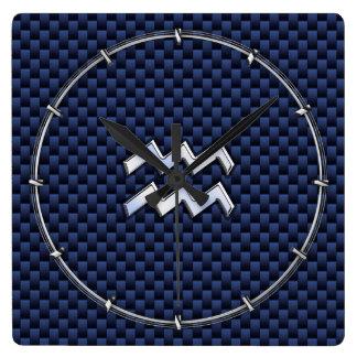 ロイヤルブルーカーボン繊維のアクエリアスの(占星術の)十二宮図の印 スクエア壁時計