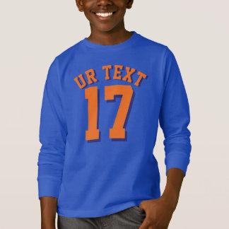 ロイヤルブルー及びオレンジの子供|のスポーツのジャージーのデザイン Tシャツ
