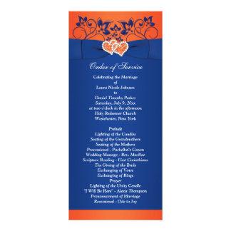 ロイヤルブルー、オレンジ花柄、ハートの結婚式プログラム ラックカード