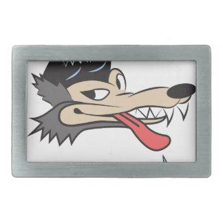 ロカビリーのオオカミ 長方形ベルトバックル