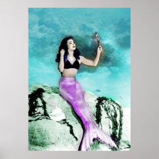 ロカビリーの人魚のプリント ポスター