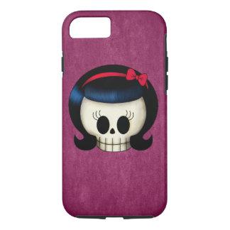 ロカビリーの女の子のスカル iPhone 7ケース
