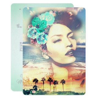 ロカビリーカリフォルニアやし沿岸夏の女性 カード