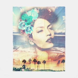 ロカビリーカリフォルニアやし沿岸夏の女性 フリースブランケット