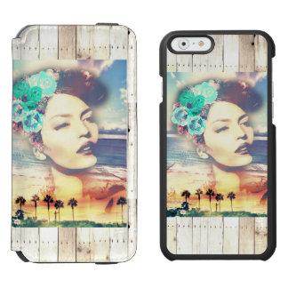 ロカビリーカリフォルニアやし沿岸夏の女性 iPhone 6/6Sウォレットケース