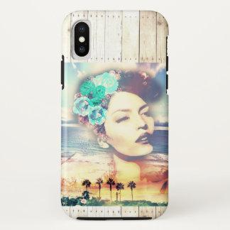 ロカビリーカリフォルニアやし沿岸夏の女性 iPhone X ケース