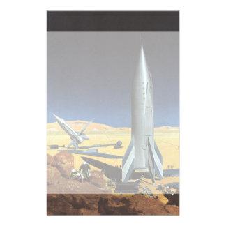 ロケットが付いているヴィンテージの空想科学小説の砂漠の惑星 便箋